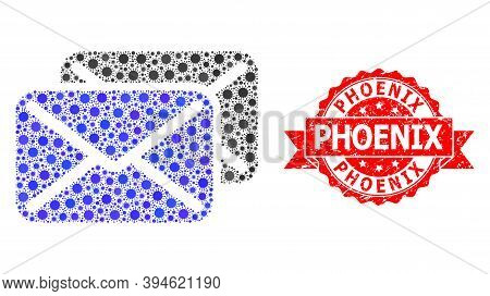 Vector Mosaic Letters Of Virus, And Phoenix Rubber Ribbon Stamp Seal. Virus Elements Inside Letters