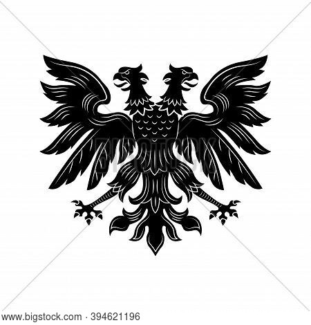 Severe Double Eagle Vector Illustration. Imperial Heraldry, Two Headed Hawk, Open Wings And Beaks. M