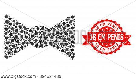 Vector Collage Bow Tie Of Sars Virus, And 18 Cm Penis Textured Ribbon Seal Print. Virus Items Inside