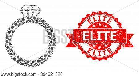 Vector Mosaic Gem Ring Of Virus, And Elite Unclean Ribbon Stamp Seal. Virus Particles Inside Gem Rin