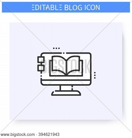 Blog Magazine Line Icon. Storytelling Blog. Online Book Store. Book Review. Thematic Internet Commun
