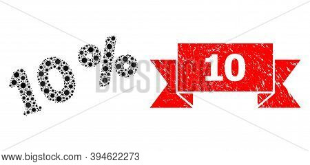 Vector Collage 10 Percents Of Virus, And 10 Textured Ribbon Seal Imitation. Virus Particles Inside 1