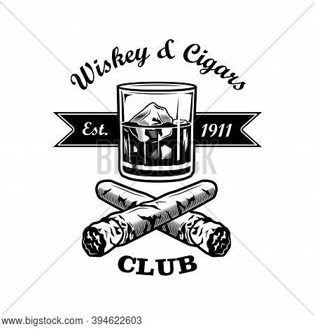 Gentlemens Bar Vector Illustration. Glass Of Whiskey With Ice Cubes, Crossed Cigars, Text. Bar Or Pu