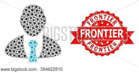 Vector Mosaic Manager Of Sars Virus, And Frontier Textured Ribbon Stamp. Virus Particles Inside Mana