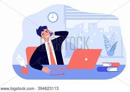 Happy Boss Sitting In Office And Talking Phone Isolated Flat Vector Illustration. Cartoon Manager At