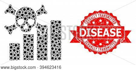 Vector Mosaic Death Chart Of Corona Virus, And Sexually Transmitted Disease Dirty Ribbon Stamp Seal.