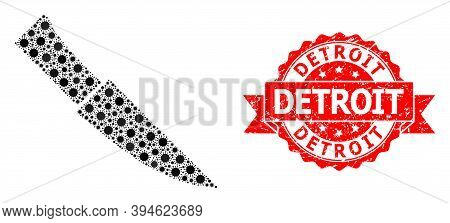 Vector Mosaic Knife Of Virus, And Detroit Scratched Ribbon Stamp. Virus Cells Inside Knife Collage.