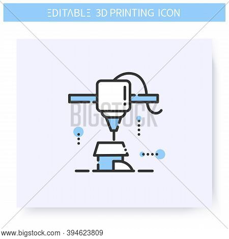 3d Printing Line Icon. New House Model Under Printing Head. 3d Printing In Architecture. Additive Ma