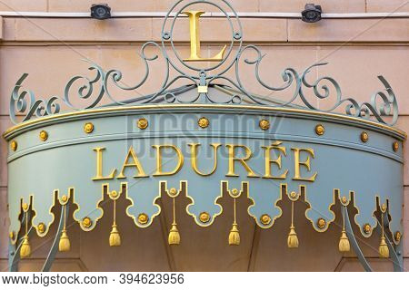 Cannes, France - February 1, 2016: Gold Sign At Famous Upscale Bakery Laduree In Cannes, France.