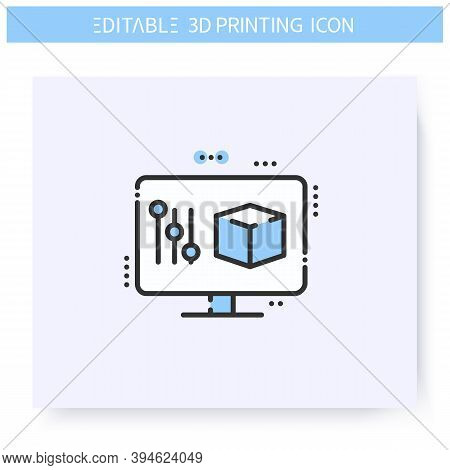 Object Setting Line Icon. Prototyping Process. Computer Modeling Software. Additive Manufacturing, F