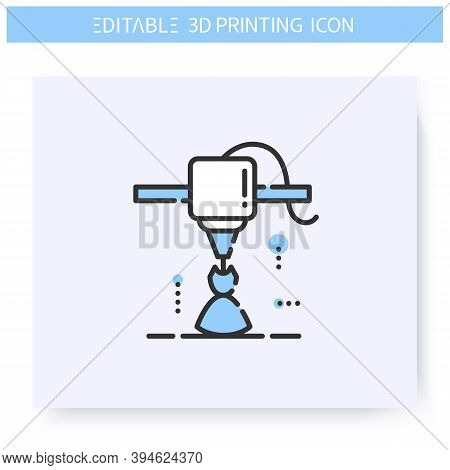 3d Printing Line Icon. New Dress Prototype Under Printing Head. 3d Printing In Fashion. Additive Man