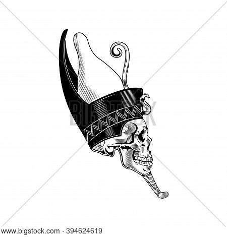 Egyptian Queen Skull Vector Illustration. Egyptian Mummy, Head Pf Skeleton With Decoration, Death Sy
