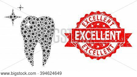 Vector Collage Excellent Tooth Of Covid-2019 Virus, And Excellent Rubber Ribbon Stamp Seal. Virus Pa