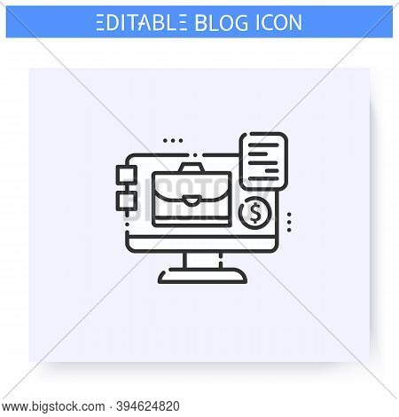 Business Blog Line Icon. Blogging And Broadcasting. Online Business Training Or Course. Thematic Int