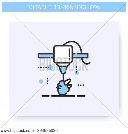 3d Printing Line Icon. Organ Under Printing Head. Prosthetics And Organ Transplants. Bioprinting In
