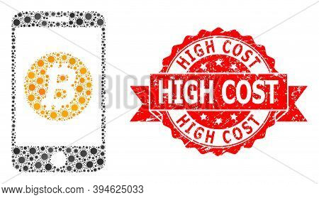 Vector Mosaic Mobile Bitcoin Bank Of Covid-2019 Virus, And High Cost Scratched Ribbon Stamp Seal. Vi