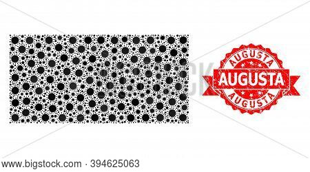 Vector Mosaic Filled Rectangle Of Flu Virus, And Augusta Rubber Ribbon Stamp Seal. Virus Elements In