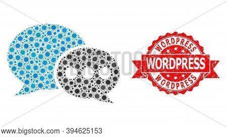 Vector Collage Forum Messages Of Sars Virus, And Wordpress Grunge Ribbon Stamp Seal. Virus Items Ins