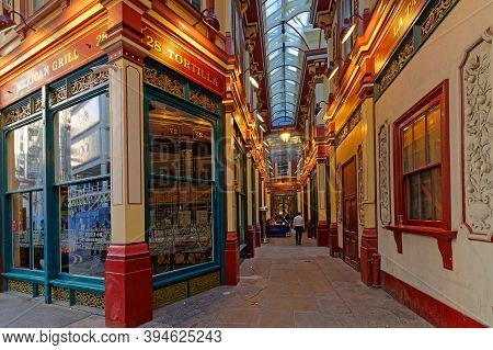 London, Great Britain, April 20, 2018 : Leadenhall Market Is A Covered Market And One Of The Oldest