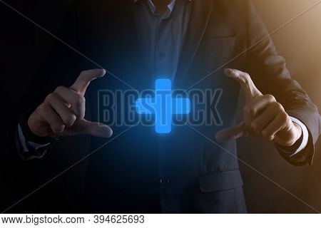 Businessman, Man Hold In Hand Offer Positive Thing Such As Profit, Benefits, Development, Csr Repres