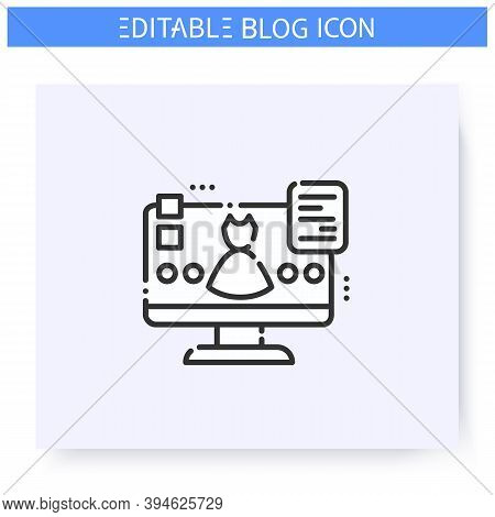 Fashion Blog Line Icon. Beauty Blogging. Clothing Review. Online Fashion Store . Thematic Internet C