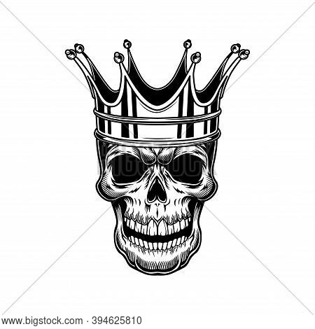 Skull Of Monarch Vector Illustration. Head Of Skeleton With Royal Crown. Monarchy Or Jewelry Concept