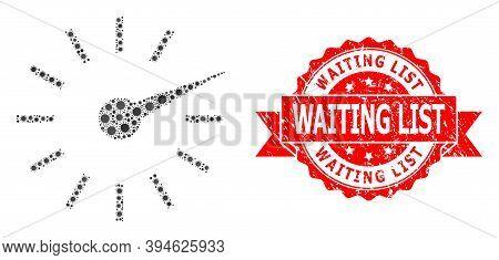 Vector Mosaic Clockface Of Flu Virus, And Waiting List Corroded Ribbon Stamp Seal. Virus Items Insid