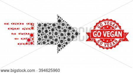 Vector Collage Move Right Of Corona Virus, And Go Vegan Rubber Ribbon Stamp Seal. Virus Items Inside
