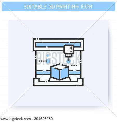 3d Printing Line Icon. Printing Head Prints A Product Or Item. 3d Modeling Process. Additive Manufac