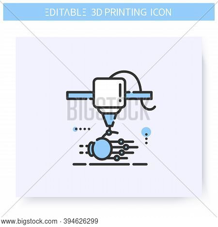 3d Printing Line Icon. Bionic Hand Under Printing Head. Prosthetics And Organ Transplants. Bioprinti