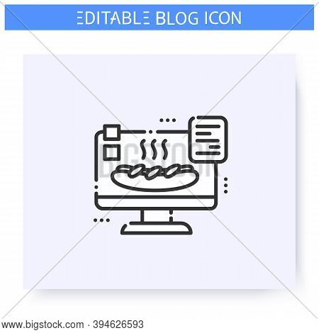 Food Blog Line Icon. Culinary Blogging. Food Hunter Review. Cooking Receipts Blog. Thematic Internet
