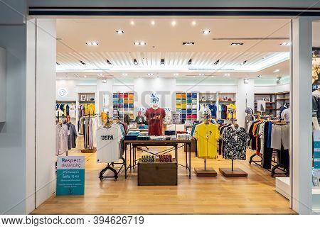 Bangkok,thailand-oct 29,2020: Us Polo Assn Store Clothes In Bangkok. Brand U.s. Polo Assn. Belongs U