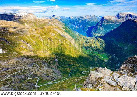 View On Fjord Geirangerfjord, Mountains Landscape And Winding Road Nibbevegen From Dalsnibba Viewpoi