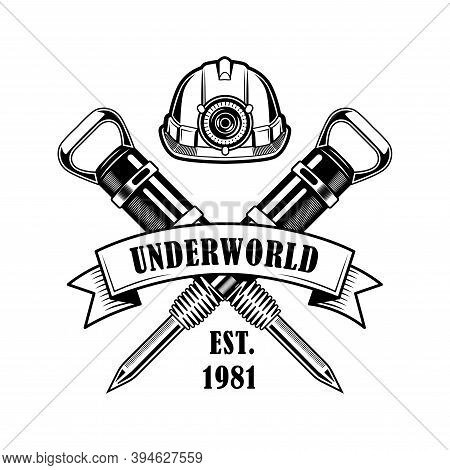 Coal Miners Job Emblem Vector Illustration. Crossed Jackhammer Picks, Hardhat With Headlight, Text U