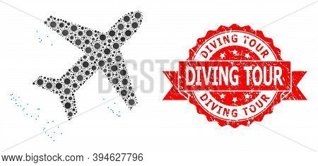 Vector Mosaic Flying Air Liner Of Coronavirus, And Diving Tour Rubber Ribbon Stamp Seal. Virus Parti