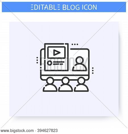 Blogging Course Line Icon. Vlog. Online Conference, Meeting. Blogging Workshop. Thematic Internet Co