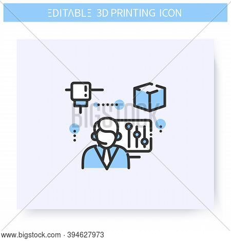 3d Printing Service Line Icon. 3d Print Per Order In The Printing Bureau. Additive Manufacturing, Fa