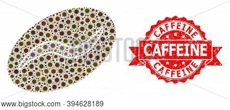 Vector Mosaic Coffee Bean Of Corona Virus, And Caffeine Corroded Ribbon Stamp Seal. Virus Items Insi