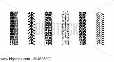 Realistic Composition Traces. Motocross, Bike Path, Car Track Or Auto Racing. Traces Car Tires And T