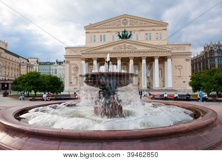 Fountain in front of Bolshoi Theater (Large, Great or Grand Theater, also spelled Bolshoy) at day time, Moscow, Russia poster