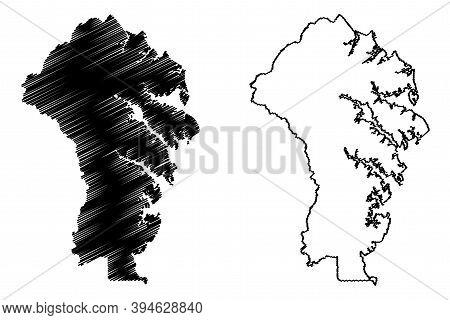 Anne Arundel County, Maryland (u.s. County, United States Of America, Usa, U.s., Us) Map Vector Illu