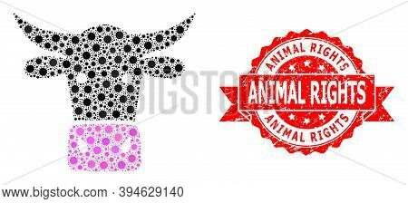 Vector Mosaic Cow Head Of Virus, And Animal Rights Unclean Ribbon Stamp. Virus Items Inside Cow Head