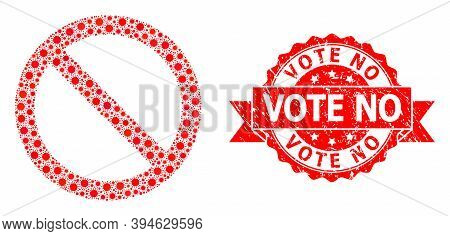 Vector Collage Forbidden Of Sars Virus, And Vote No Rubber Ribbon Seal Imitation. Virus Elements Ins