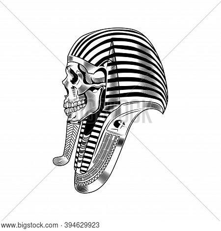 Pharaoh Skeleton Vector Illustration. Egyptian Mummy, Skeleton, Death Symbol. Ancient Egypt History