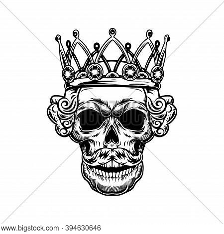 Skull Of King Vector Illustration. Head Of Skeleton With Royal Crown And Gems. Monarchy Or Jewelry C