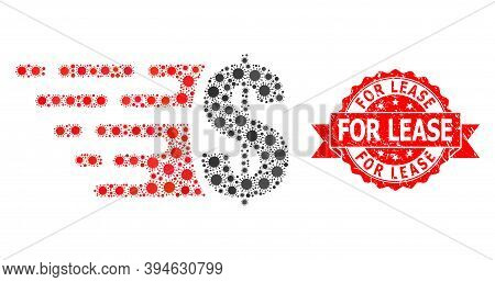 Vector Mosaic Dollar Of Covid-2019 Virus, And For Lease Dirty Ribbon Stamp Seal. Virus Particles Ins