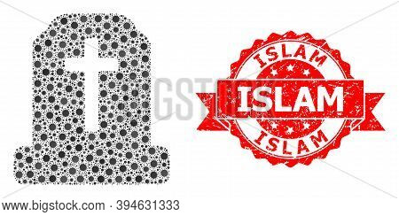Vector Collage Cemetery Of Flu Virus, And Islam Rubber Ribbon Stamp Seal. Virus Particles Inside Cem
