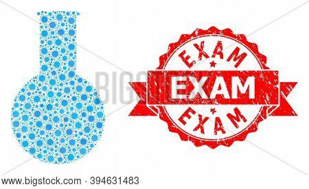 Vector Collage Chemical Flask Of Corona Virus, And Exam Dirty Ribbon Seal Imitation. Virus Cells Ins