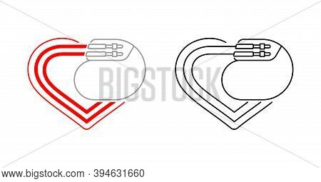 Pacemaker Thin Line Icon -  Heart Shape And Cardio Implant - Vector Isolated Anatomic Medical Pictur