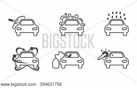 Car Washing Icon Set In Thin Line - Services And Equipment Of Car Wash